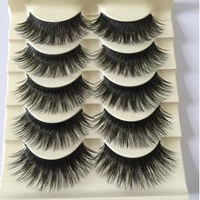 5 Pairs Fashion Natural Long Fake Eye Lashes Handmade Thick False Eyelashes Black Makeup Tool Beauty(China)