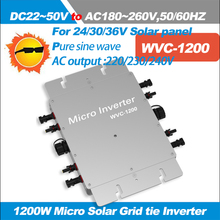 1200W Micro Grid tie Inverter Pure sine wave output Input DC22V-50V to AC180-260V, AC220/230/240V Waterproof Solar Inverter IP67(China)