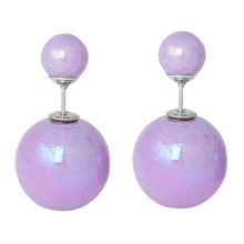 Doreen Box Pearl Created Double Sided Ear Post Stud Earrings Ball Purple AB Color 8mm Dia. 16mm Dia.,1 Pair