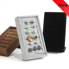 Portable Top Velvet Vertical Jewelry Display Inserts Ring Stand Earrings Display Stand Ring Holder Organizer Showcase(China)