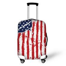"American flag Colorful Striped Waterproof Suitcase Trolley Case Protective Cover S/M/L Luggage Cover Apply To 18""~30"" Trunk Case"