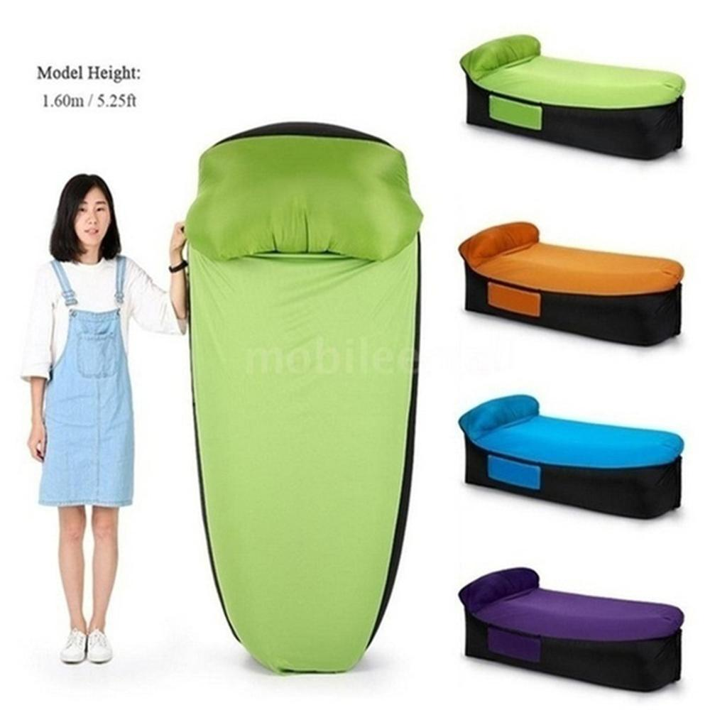 Stool Sofa Pouf-Chair Outdoor Inflatable Camping Travel Compact-Size with Pillow title=