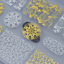 Gold White Flower 3D Nail Sticker Wave Line Triangle Dot Adhesive Sticker Decal for Manicre Nail Art Decoration(China)