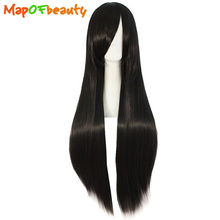 "MapofBeauty long Cosplay wig 32"" Synthetic straight hair 17 colors Orange black red green Available 80cm Heat Resistant peluca"