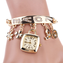 2017 New Hot Sale Europe and US Fashion Watch Women's Love Rhinestone Stainless Steel Chain Bracelet Watch Free Shipping DM#6
