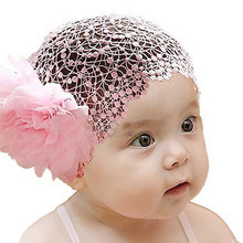 New Lace Flower Headband Newborn Girl Comfortable Elastic Hairband  for 6-24 Months 3 Colors Hair Accessories CC0569