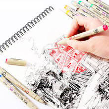 12 Colors Fine Liner Manga Anime Art Marker Sketch Micron Pen Needle Tip Graffiti Drawing Pens For Kids Painting School Supplies(China)