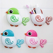 Urijk Bathroom Accessories Toothbrush Holder Creative Bird Pattern Suction Cup Toothbrush Holder House Storage Tool Wall Mounted(China)