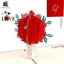Ручной работы 3D Rose Pop up подарок с днем рождения, поздравительные открытки Винтаж День Святого Валентина открытки тема любви Спасибо карты(China)