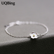 925 Sterling Silver Bracelets Pure Sterling Silver 925 Cherry Blossoms Bracelets Jewelry Pulseras Pulseira