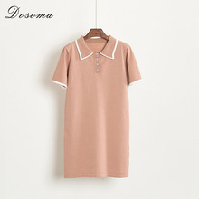 2017 Summer Polo Shirt Dress Female Short Sleeve Knitted Dresses for Girls Khaki Mini Dress Korean Style Vestidos Mujer