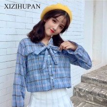 Buy XIZIHUPAN Bow Female Shirt Plaid Flare Sleeve Women's Blouses Vintage Casual Clothes Top Korean Fashion Clothing New Tide for $15.19 in AliExpress store