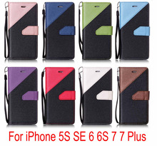 For iPhone 5 5S SE 6 6S Plus 7 7 Plus Case Wallet Leather Double color holster  Flip Soft Cover Cell Phone Cases Wallet Card