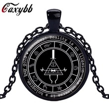 Caxybb 2017 Gravity Falls Mysteries Logo Necklace Pendant Bill Cipher Wheel Silver Art Handmade Vintage Gift Necklace for Kids