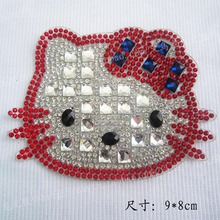 Pointback hello kitty patches Hot fix rhinstone motif transfer iron on rhinestone hat bag garment iron on applique patches(China)