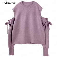 2017 Spring New Fashion Women Sweater Full Sleeve with Bow Pullovers Purple Strapless Knitted Female Tops O-neck Coat(China)