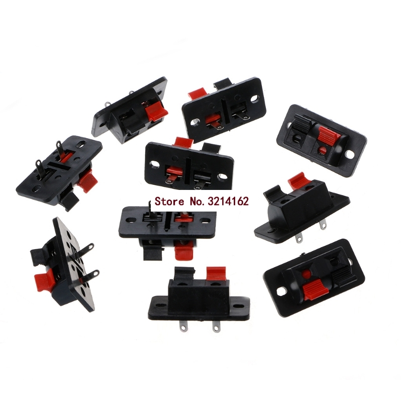 10Pcs 2 Positions Push in Jack Spring Load Audio Speaker Terminals Connector 07NOV