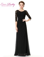 Sexy Floor Length Evening Dress O-Neck Ever Pretty EP08861 Black Lace half Sleeve Formal Chiffon A-line Evening Dresses