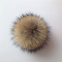 Wholesale Large Brown Raccoon Fur Ball Pom Pom Fur Charm With Snap Button Or Elastic Loop For Hats Clothing Bag Bugs
