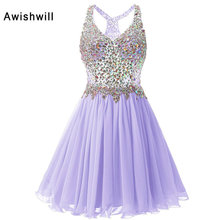 V-neck Short Prom Dresses 2017 Cheap Plus Size Crystal Beaded Chiffon A-line Party Homecoming Dress For Girls Vestidos De Festa(China)