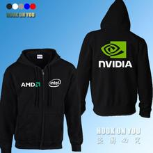 GPU Graphics Nvidia LOGO Print sweatshirts AMD intel Nvidia Hoodies Gamer clothing fleece zipper Hoodies(China)