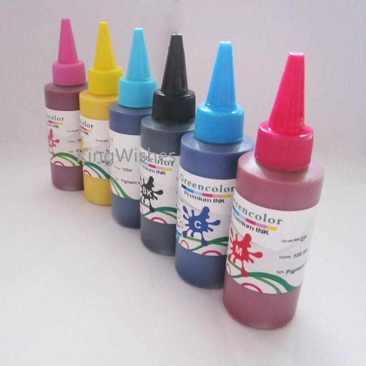 Factory Price 6PCS/Lot 100ML Universal Pigment Ink For Epson 6 Color Desktop Inkjet Printer BK M Y C LM LC<br><br>Aliexpress
