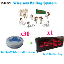 Wireless Table Bell Call Button System K-336 Counter Display With Waterproof Transmitter K-H4( 1pcs display+ 30pcs call button)(China)