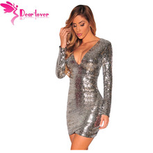 Dear Lover Autumn Party Long Sleeve Gold Sequin Dress Vestido Lentejuelas Femininos Silver Ruched Sequin Nightclub Dress LC22795(China)