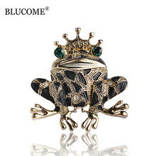 Blucome Vintage Black Frog Brooch Green Eyes Insect Toad Brooches For Men Women Kids Sweater Scarf Coat Accessories Jewelry Pins