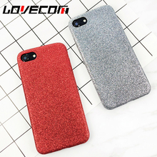 LOVECOM New Phone Case China Red Solid Color Glitter Powder Soft Phone Back Cover Shell Capa Coque For iPhone 6 6S Plus 7 7 Plus