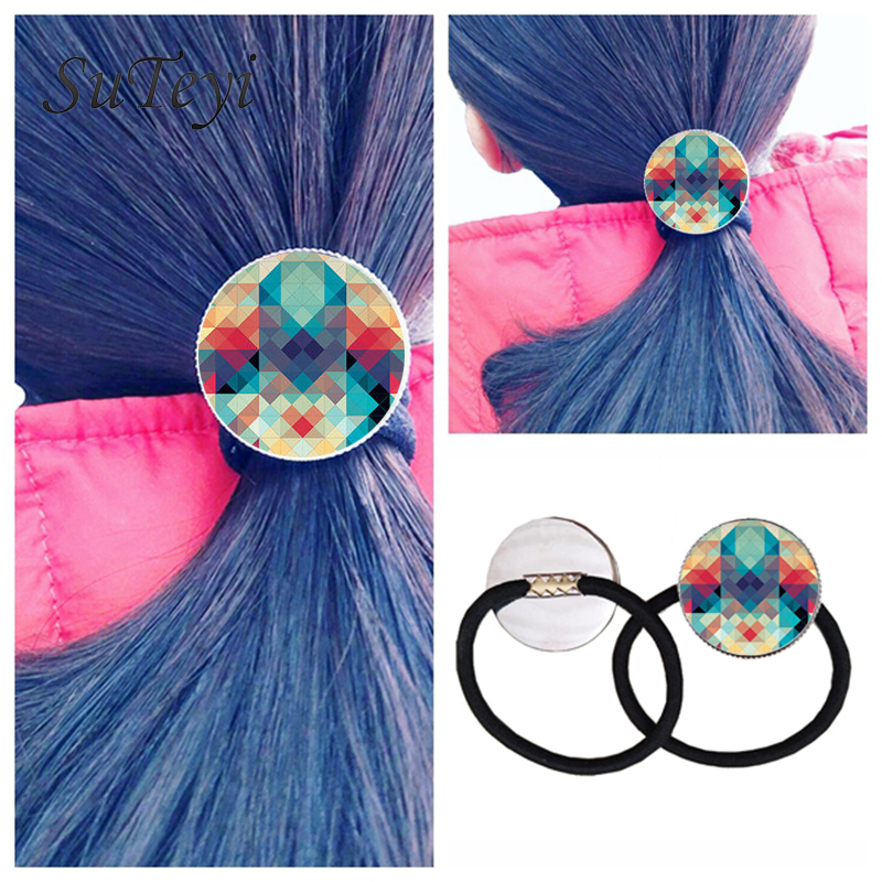 SUTEYI Fashionable 2017 hairband jewelry mandala henna yoga om buddhism zen India style Extensible Black Hair Rope hairband(China (Mainland))