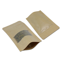 12*20cm Doypack Resealable Ziplock Kraft Paper Stand Up Package W/ Dull Polish Window Pouch 50Pcs/ Lot Bread Food Storage Bag