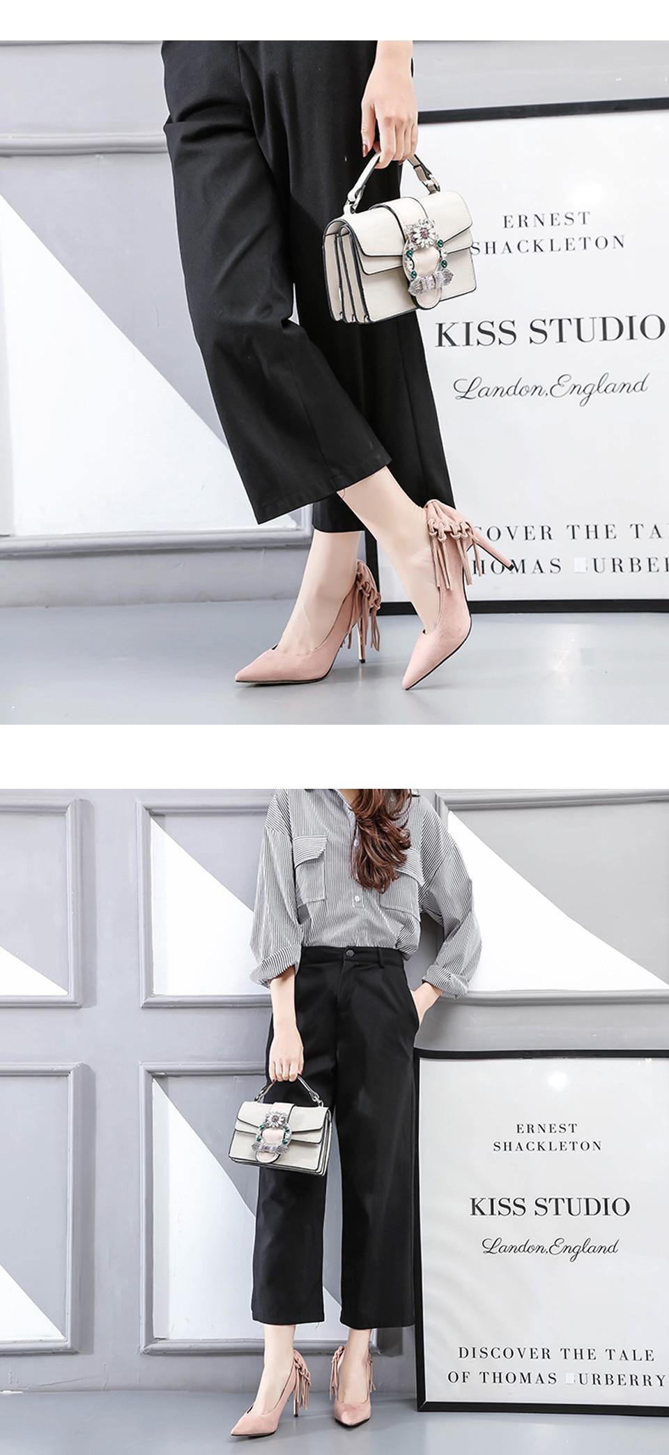 Woman Shoes High Heels Brand Women Pumps Tassel Fashion Office Lady Dress Shoes Black Spring Autumn Pointed Toe Female Pumps DE 5