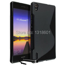 For Huawei Ascend P7 + 1X Pen S-Line TPU Soft Silicone Shockproof Mobile Phone Case Cover