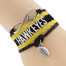Infinity Love Hawkeyes football college Team Bracelet black yellow Customized Wristband friendship Bracelets F-CTSLB0245(China)