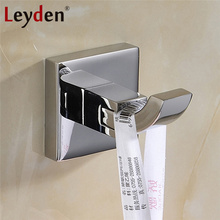Leyden High Quality Stainless Steel Hanger Polished Chrome Robe Hook Wall Mounted Hanging Hook Coat Hook Bathroom Accessories(China)