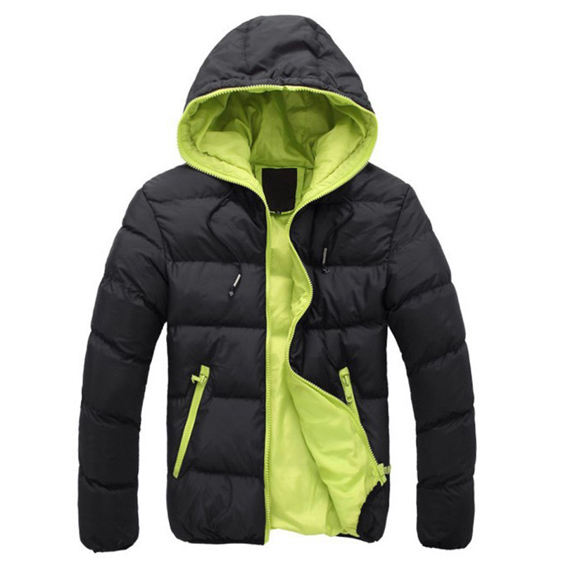 Man Winter Autumn Quilted Outwear Coat Men Plus Size Hooded Puffer Jacket Solid Parka Men\`s Clothing New Solid Warm Jacket Coat