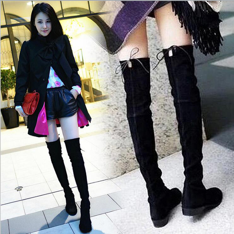 Women Stretch Suede Slim Thigh High Boots Sexy Fashion Over the Knee Boots Low Heel Woman Shoes Black Size 35-40<br><br>Aliexpress