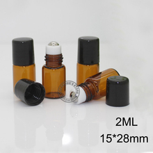 (100pieces/lot)1ML 2ML Glass Roll on Bottle with Stainless Steel roller Small Essential Oil  Roller-on bottle