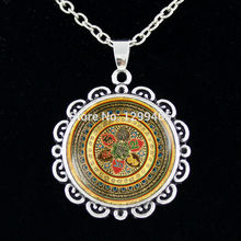 India Buddhist jewelry Religion jewelry Vintage Nataraja chain necklace Glass cabochon Dancing Shiva charm pendant  C 032