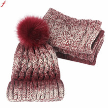 2018 Autumn Winter Lovers Knitted Beanie Hat With PomPom Elegant 2Piece Set Womens Men Warm Knit Winter Scarf Caps(China)