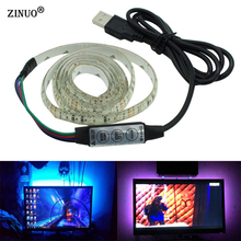 ZINUO 1M 2M 5V USB RGB LED Strip 5050 Waterproof With Controller color changeable RGB Led Tape TV Background Lighting