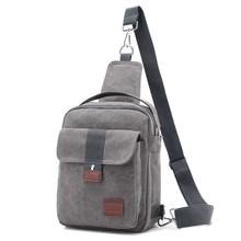Men Canvas Small Sling Chest Pack Handbag Vintage Shoulder Crossbody Bag Function Small Men Messenger Bags Grey 19*8*25 CM