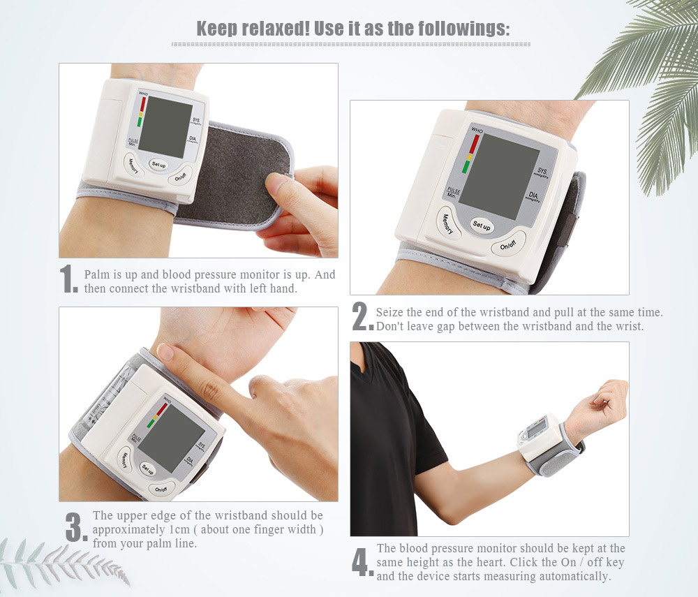 Health Care Portable Wrist Blood Pressure Pulse Meter Digital Automatic Blood Pressure Monitor Household Heart Beat Rate Measure 3