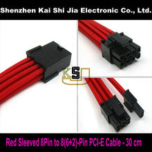 Premium Sleeved UL 1007 18AWG GPU 8 Pin to 6+2 Pin PCI-E Power Extension Cable - Red(China)