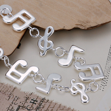 20cm Music Note bracelets Child Girl's Jewelry 925 sterling silver  bangles H242 gift Pulseira de Prata