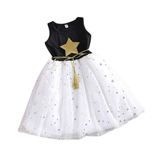 2018 Summer Girls Sequins Party Princess Dress Kid Pageant Formal Dress Printing Star Sleeveless Girls Clothes(China)