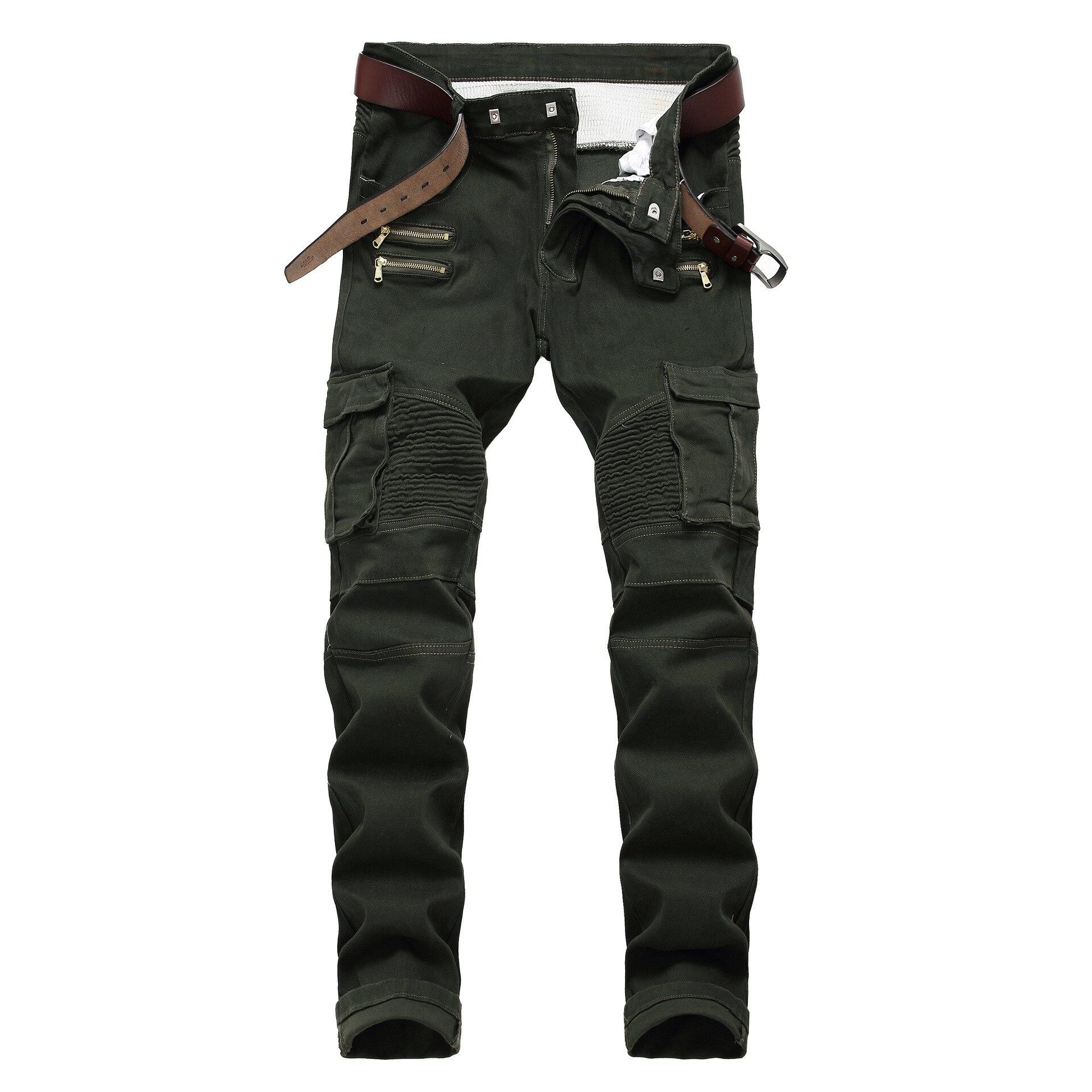 Mens Skinny Cargo Jeans Vintage Blue Wash Moto Biker Distressed Rips Zippers 32