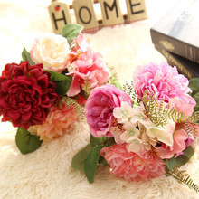 Traditional Chinese 3Colors 1Bunch Artificial Fake Flowers Dahlia Bouquet Floral Wedding Home Garden Office Coffee house Decor