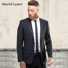 Muriel Lester Two Pieces Men suit Custom made wedding suits 3 pieces Men suits Slim fit Skinny Formal wedding Party suit dress(China)